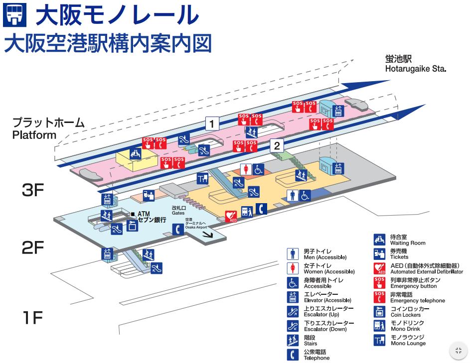 大阪モノレール大阪空港駅構内案内図